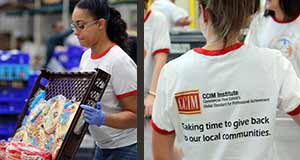 Two pictures: one of a staff volunteer unloading bread to be inspected; the other is the back of the shirts with the CCIM Institute logo that also says Taking time to give back to local communities